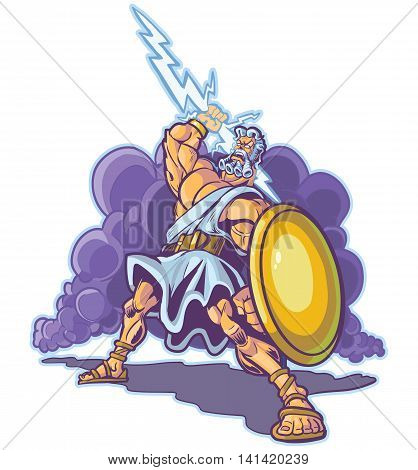 Vector clip art cartoon illustration of an angry greek or roman thunder and lightning god or titan mascot raising a lighting bolt and holding a shield. Cloud is on a separate layer.