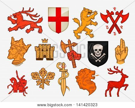 Medieval symbols or icons. Collection vector logo