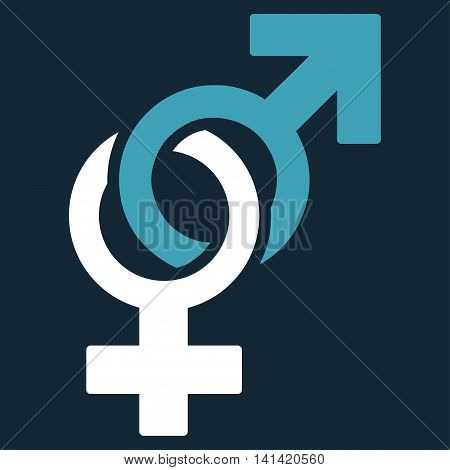 Sexual Symbols vector icon. Style is bicolor flat symbol, blue and white colors, rounded angles, dark blue background.