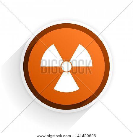 radiation flat icon with shadow on white background, orange modern design web element