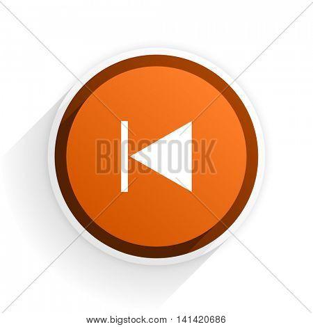 prev flat icon with shadow on white background, orange modern design web element