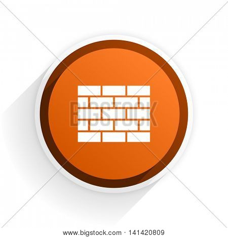 firewall flat icon with shadow on white background, orange modern design web element