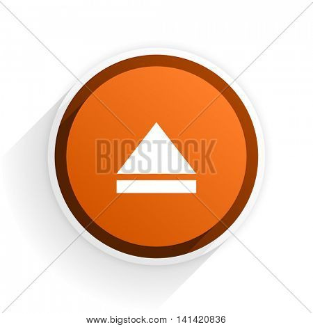 eject flat icon with shadow on white background, orange modern design web element