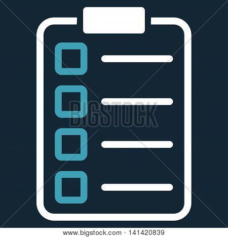 Test Form vector icon. Style is bicolor flat symbol, blue and white colors, rounded angles, dark blue background.