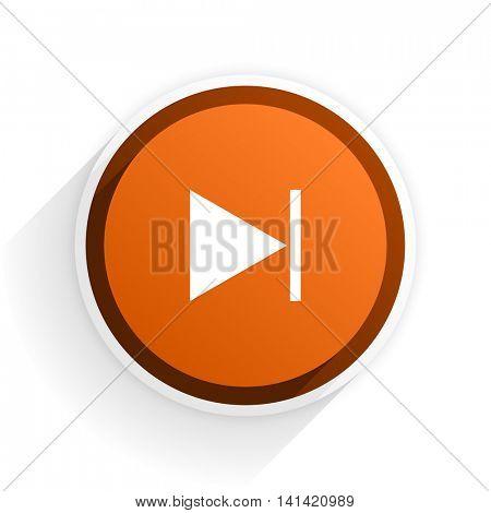 next flat icon with shadow on white background, orange modern design web element