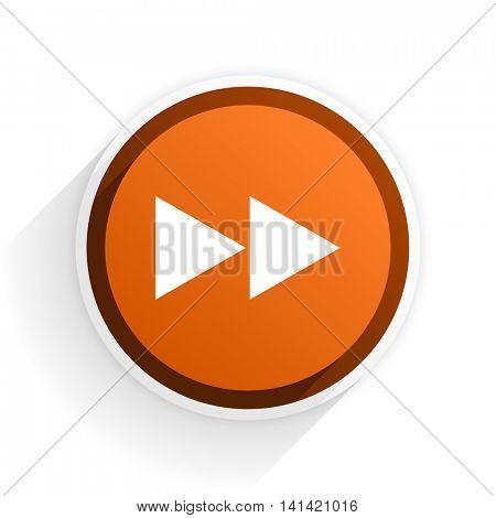 rewind flat icon with shadow on white background, orange modern design web element