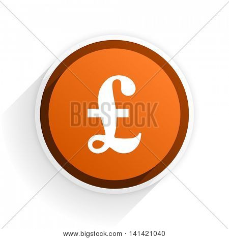pound flat icon with shadow on white background, orange modern design web element