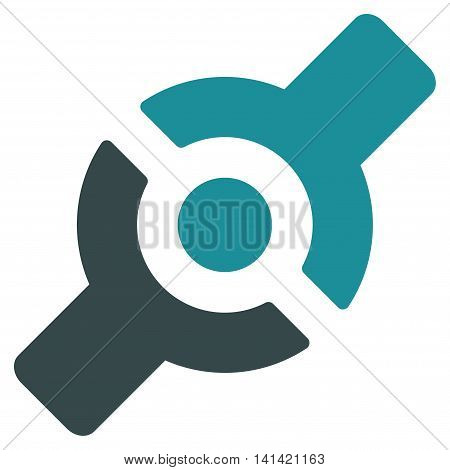 Artificial Joint vector icon. Style is bicolor flat symbol, soft blue colors, rounded angles, white background.