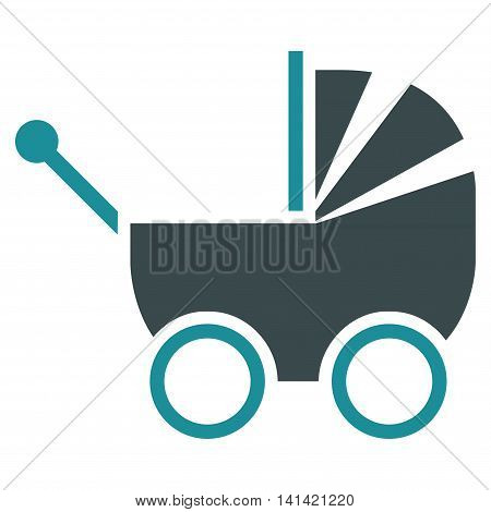 Baby Carriage vector icon. Style is bicolor flat symbol, soft blue colors, rounded angles, white background.