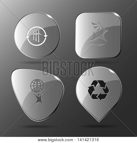 4 images: wind turbine, deer, little man with globe, recycle symbol. Ecology set. Glass buttons. Vector illustration icon.