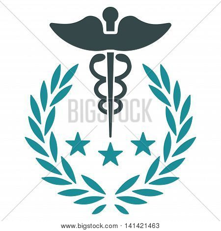 Caduceus Logo vector icon. Style is bicolor flat symbol, soft blue colors, rounded angles, white background.