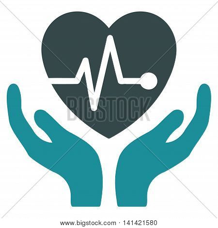 Cardiology vector icon. Style is bicolor flat symbol, soft blue colors, rounded angles, white background.