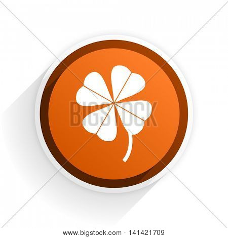 four-leaf clover flat icon with shadow on white background, orange modern design web element