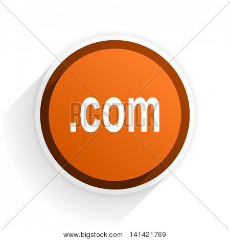 com flat icon with shadow on white background, orange modern design web element