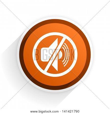 mute flat icon with shadow on white background, orange modern design web element