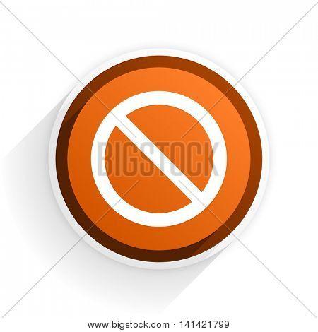 access denied flat icon with shadow on white background, orange modern design web element