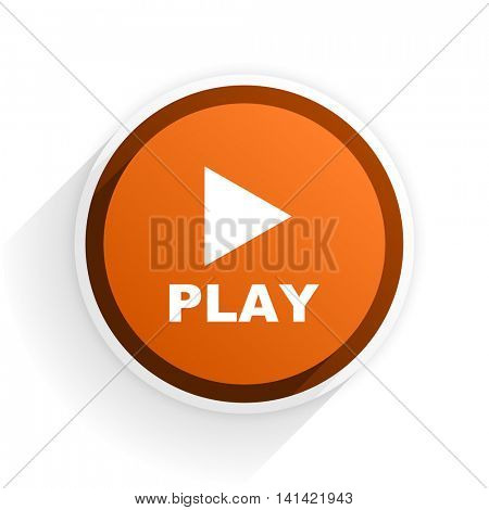 play flat icon with shadow on white background, orange modern design web element