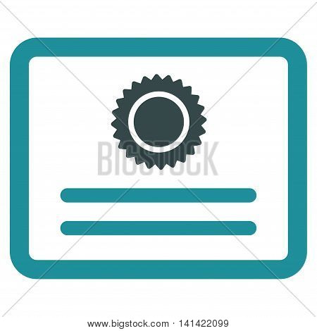 Diploma vector icon. Style is bicolor flat symbol, soft blue colors, rounded angles, white background.