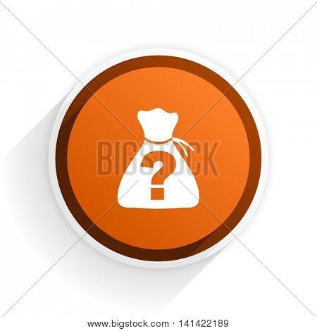 riddle flat icon with shadow on white background, orange modern design web element