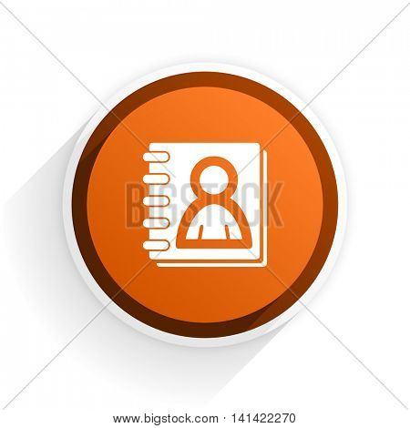 address book flat icon with shadow on white background, orange modern design web element