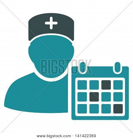 Doctor Appointment vector icon. Style is bicolor flat symbol, soft blue colors, rounded angles, white background.