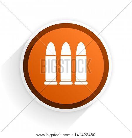 ammunition flat icon with shadow on white background, orange modern design web element