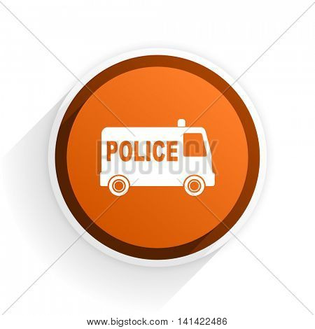 police flat icon with shadow on white background, orange modern design web element