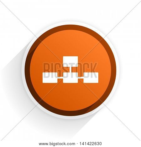 database flat icon with shadow on white background, orange modern design web element