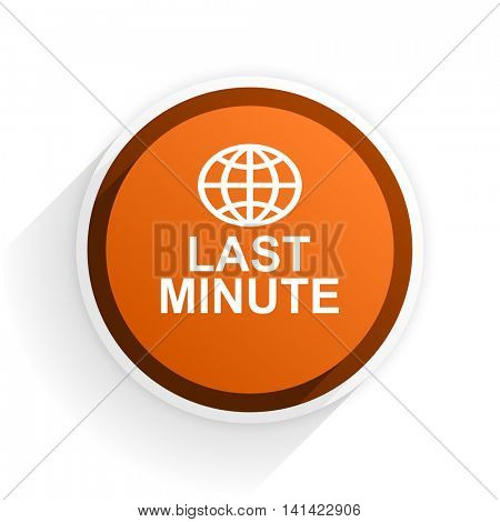 last minute flat icon with shadow on white background, orange modern design web element