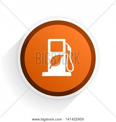 biofuel flat icon with shadow on white background, orange modern design web element