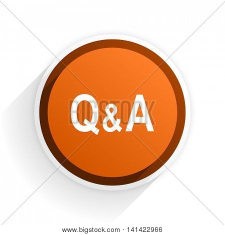 question answer flat icon with shadow on white background, orange modern design web element