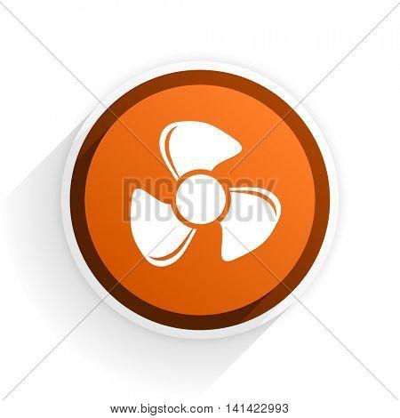 fan flat icon with shadow on white background, orange modern design web element
