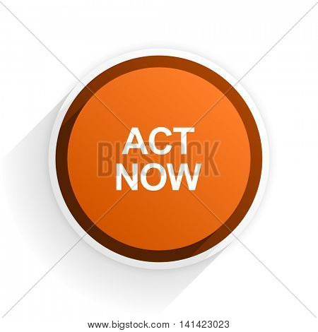 act now flat icon with shadow on white background, orange modern design web element