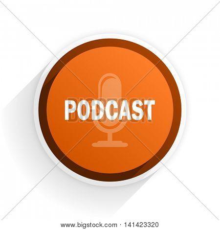 podcast flat icon with shadow on white background, orange modern design web element