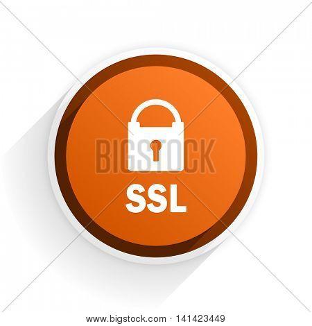 ssl flat icon with shadow on white background, orange modern design web element
