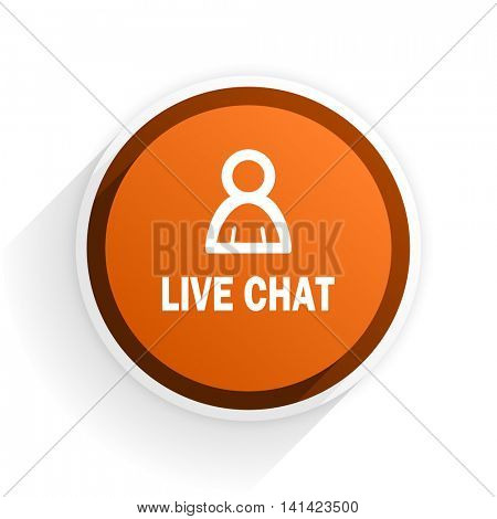 live chat flat icon with shadow on white background, orange modern design web element