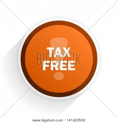 tax free flat icon with shadow on white background, orange modern design web element