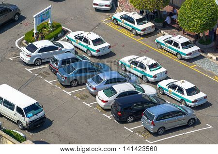 Labuan,Malaysia-Aug 4,2016:Carpark in the Labuan street. People in Labuan island have a problem not enough parking space due to limited space and too many new cars in the Labuan island road.