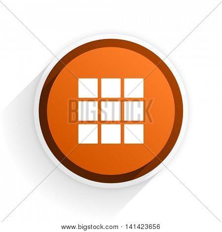 thumbnails grid flat icon with shadow on white background, orange modern design web element