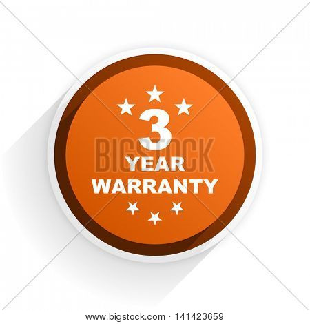 warranty guarantee 3 year flat icon with shadow on white background, orange modern design web element