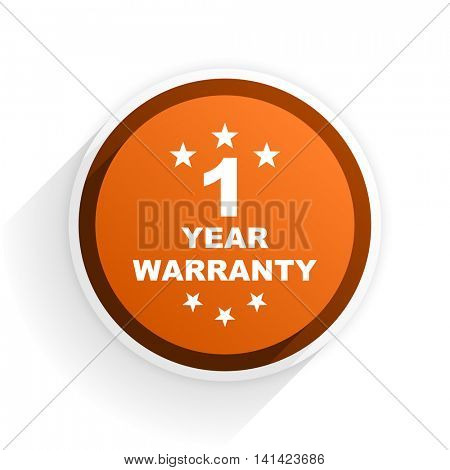 warranty guarantee 1 year flat icon with shadow on white background, orange modern design web element