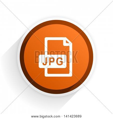 jpg file flat icon with shadow on white background, orange modern design web element