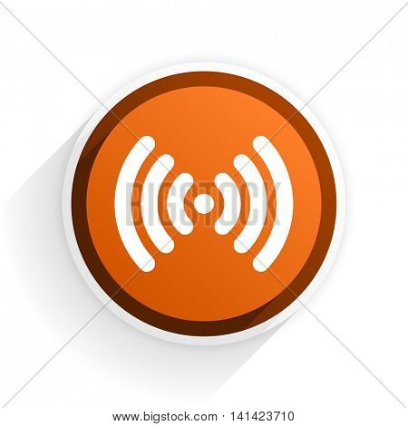 wifi flat icon with shadow on white background, orange modern design web element