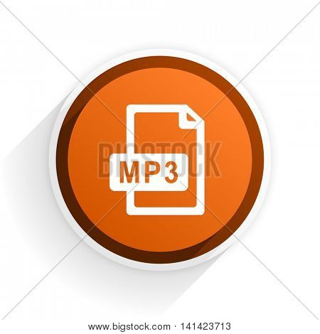 mp3 file flat icon with shadow on white background, orange modern design web element