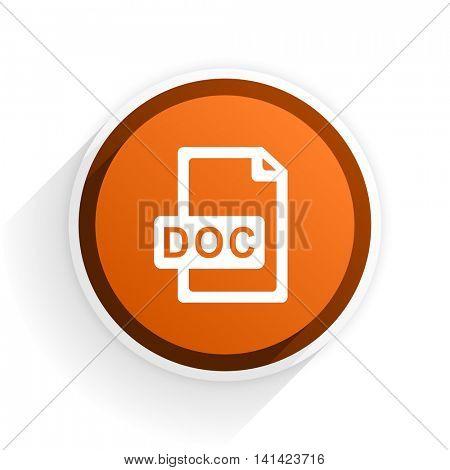 doc file flat icon with shadow on white background, orange modern design web element