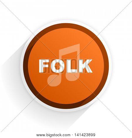 folk music flat icon with shadow on white background, orange modern design web element
