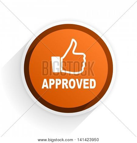 approved flat icon with shadow on white background, orange modern design web element