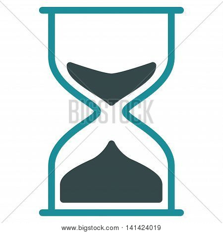 Hourglass vector icon. Style is bicolor flat symbol, soft blue colors, rounded angles, white background.