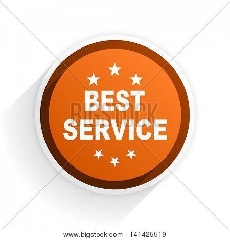 best service flat icon with shadow on white background, orange modern design web element