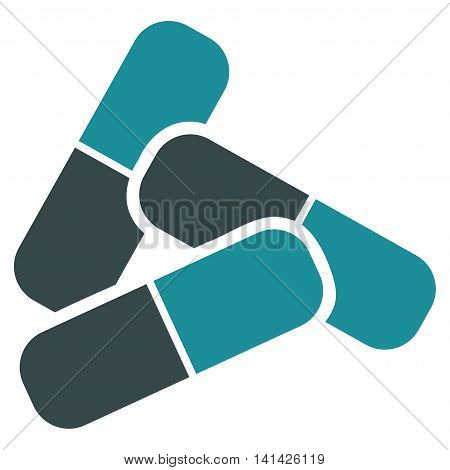 Pills vector icon. Style is bicolor flat symbol, soft blue colors, rounded angles, white background.